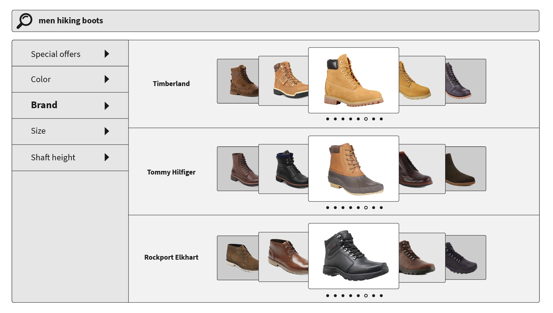 Product curation by brand of men's boots