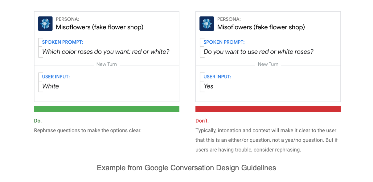 Example from Google Conversation Design Guidelines