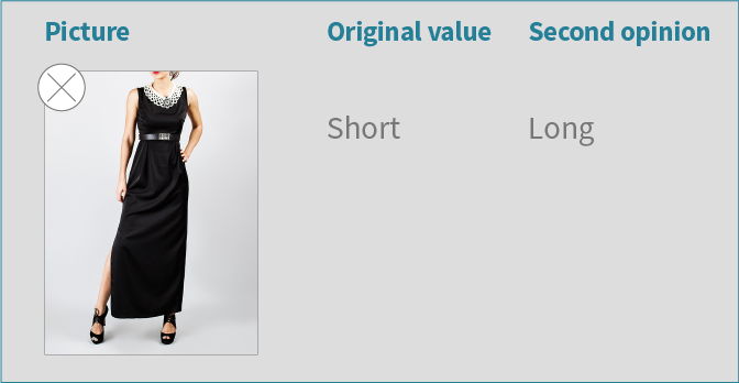 Example of image-based attribute verification example with a verification UI, correcting dress length classification error.