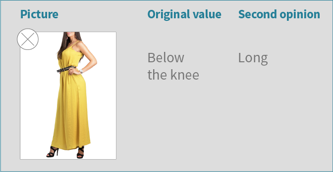 Additional example of image-based attribute verification example with a verification UI, correcting dress length classification error.