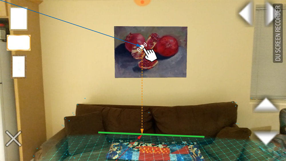 example of how augmented reality gets oriented with a horizontal and vertical plane.