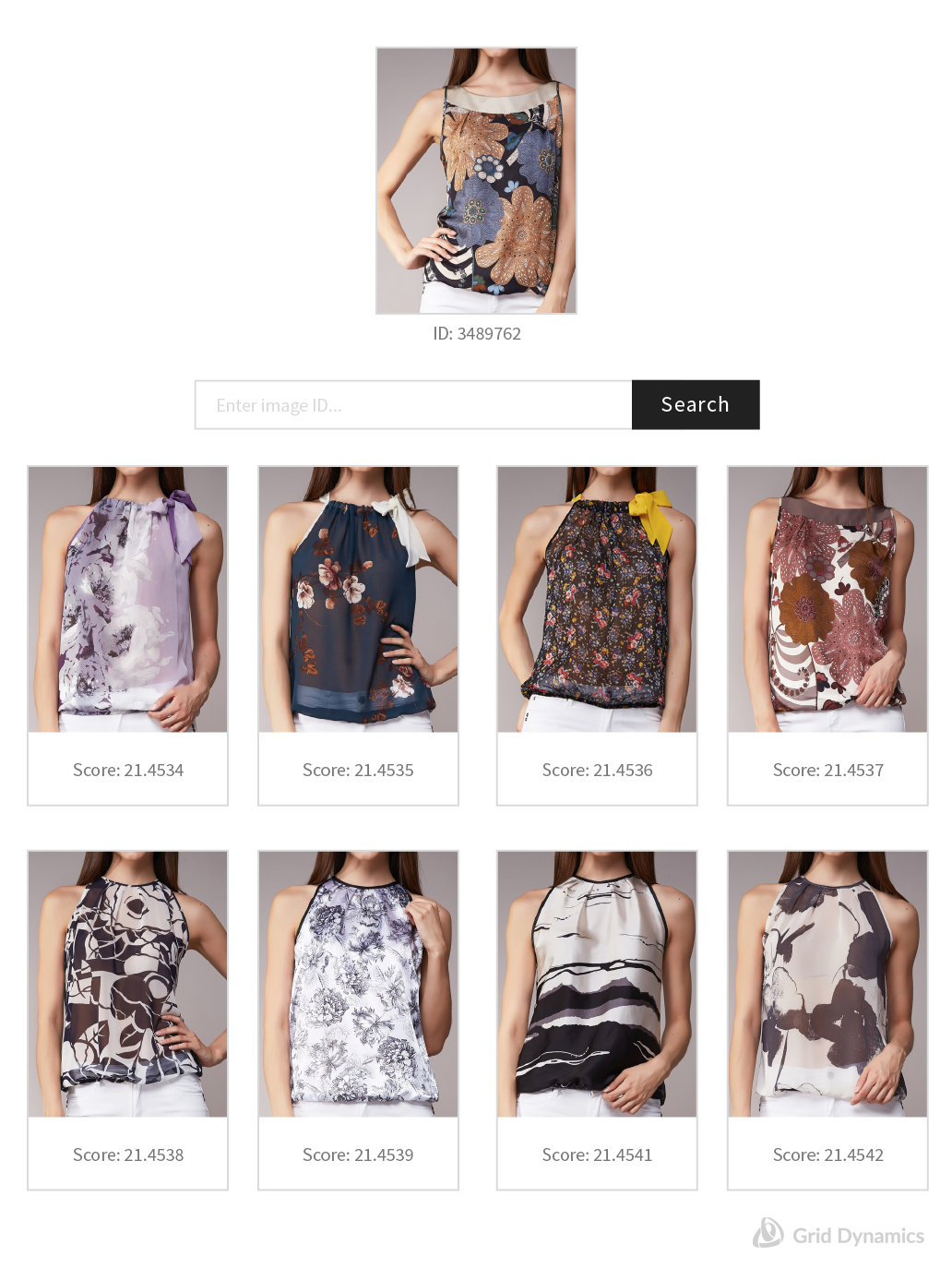 An example of image search with women's patterned tops