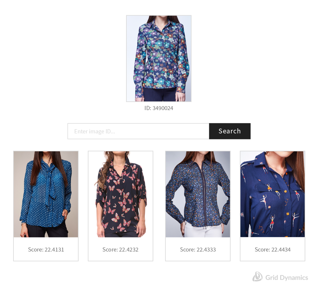 An example of image search, powered by machine learning , to find women's patterned button up shirts.