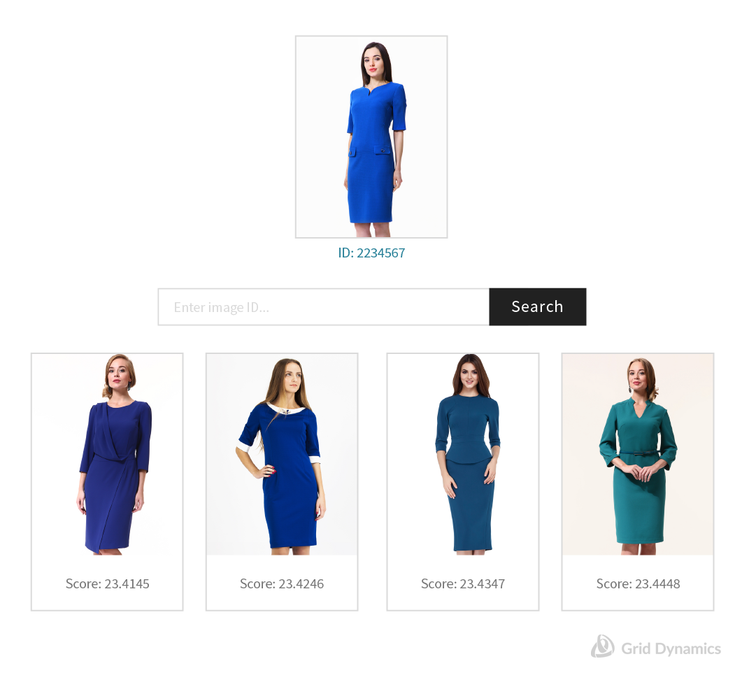 An example of using tensor flow to power an image search for women's knee high dresses